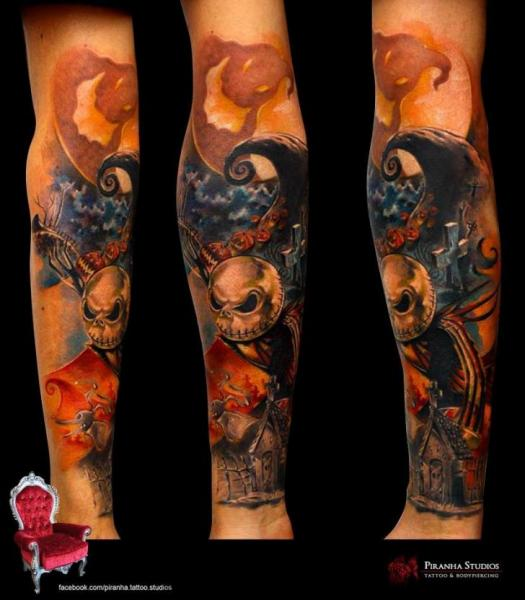Jack Skellington tattoo sleeve by Piranha Tattoo Supplies