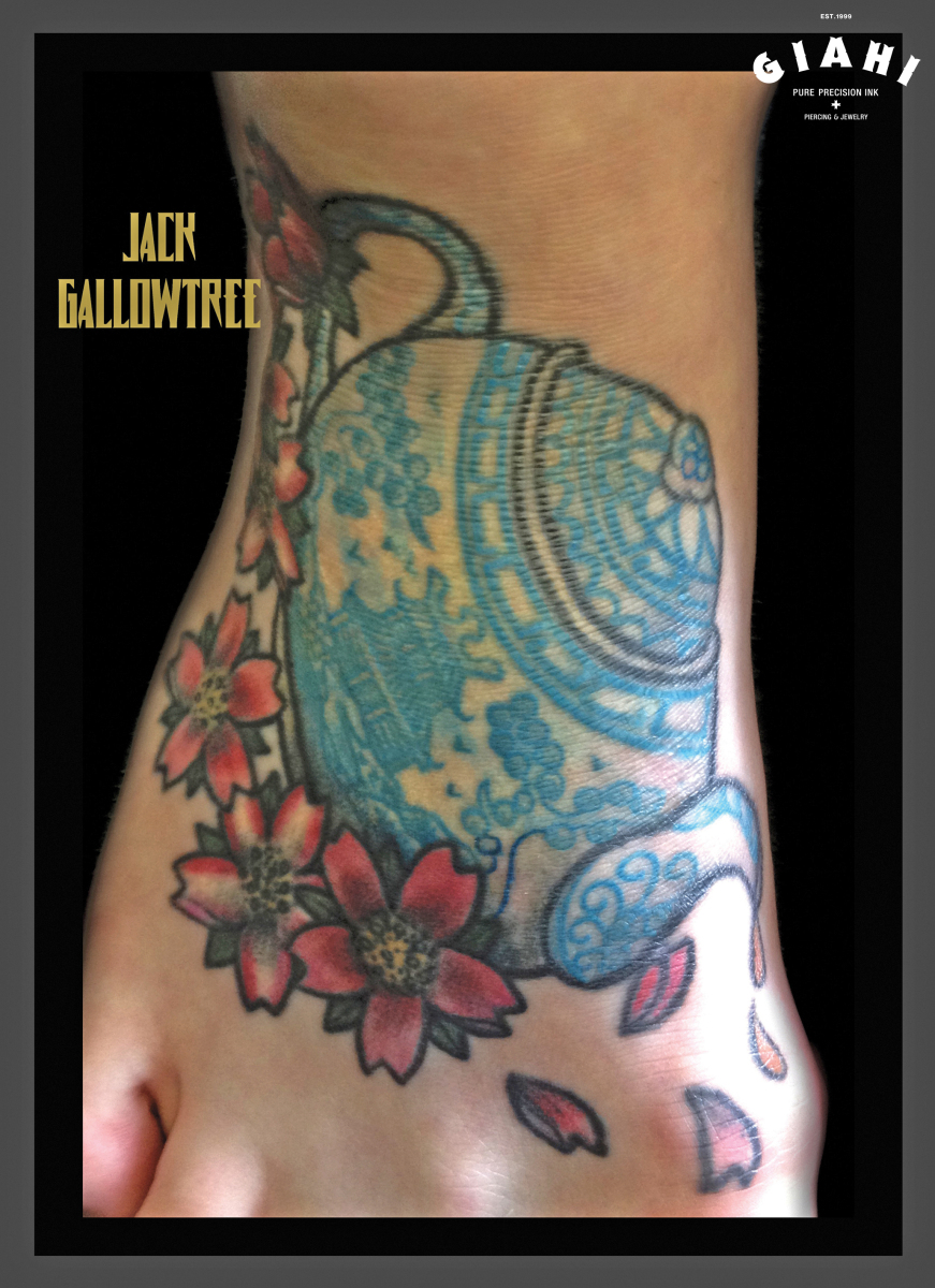 Japanese Tea Pot tattoo by Jack Gallowtree