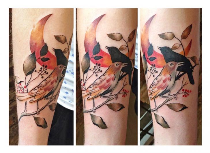 Kingfish Bird Moon Aquarelle tattoo by Julia Rehme