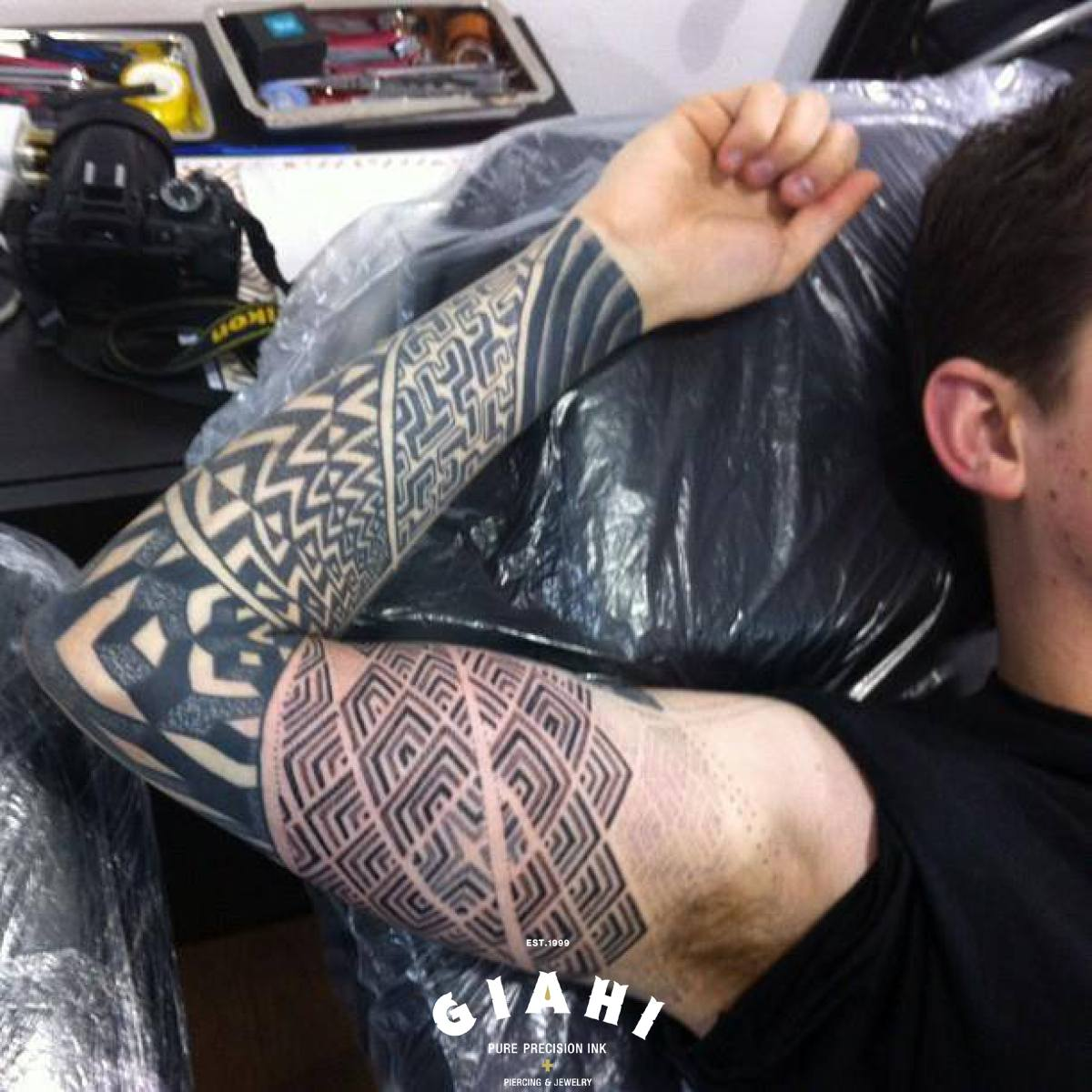 Labyrinth Dotwork tattoo sleeve by Andy Cryztalz