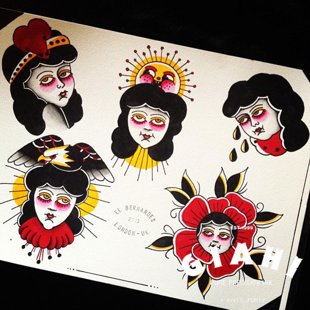 Ladies Old School tattoo ideas by Elda Bernardes