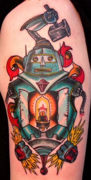 Lamp Robot New School tattoo by Three Kings Tattoo