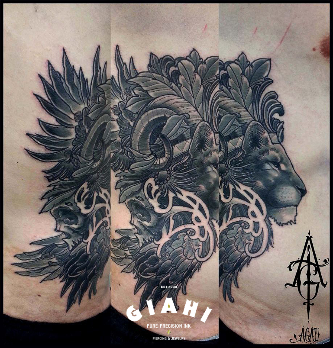 Leaves Mane Lion Graphic tattoo by Agat Artemji