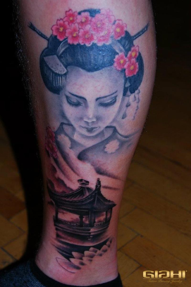 Leg Geisha Japanese tattoo by Szilard