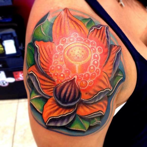 Lotus Flower tattoo by Mike Woods