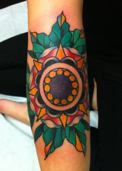 Mandala Flower Old School tattoo by Three Kings Tattoo