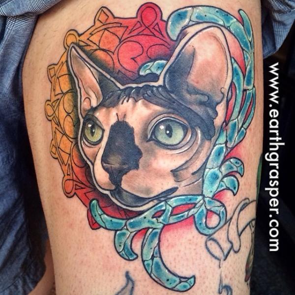 Mandala Framed Cat tattoo by Earth Gasper Tattoo