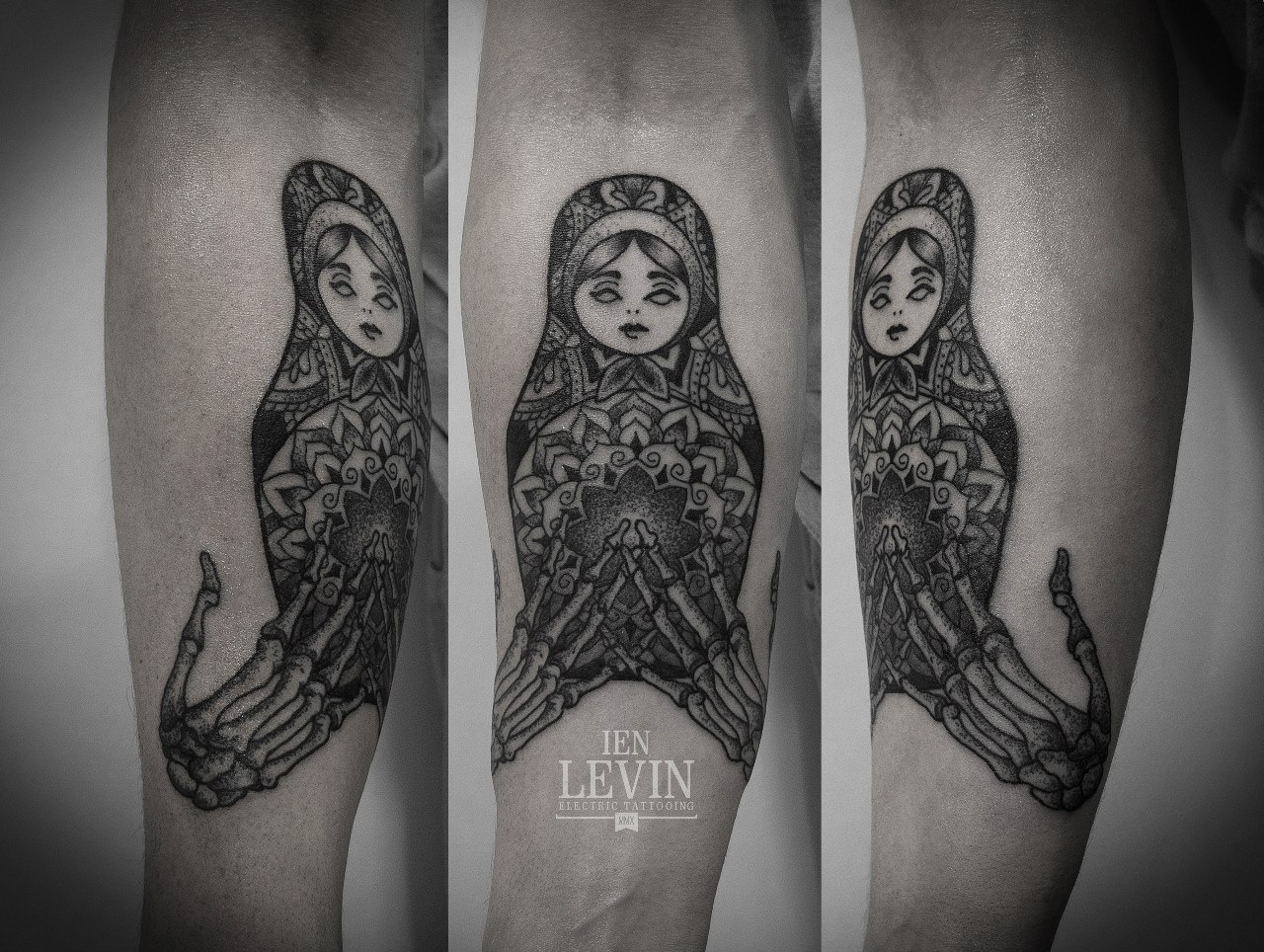 Mandala Russian Matryoshka Skeleton Hands Dotwork tattoo by Ien Levin