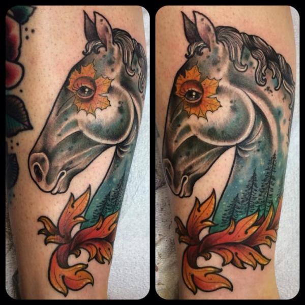 Maple Leaf Eye Horse tattoo by Earth Gasper Tattoo