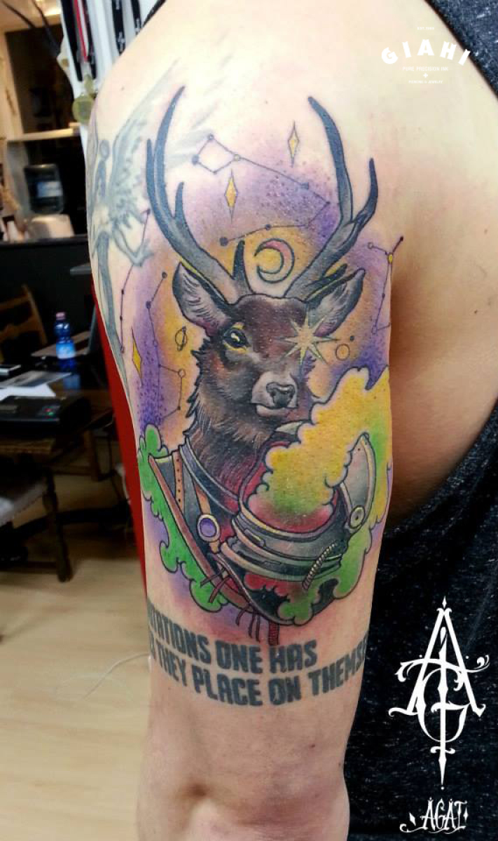 Moon Deer New School tattoo by Agat Artemji
