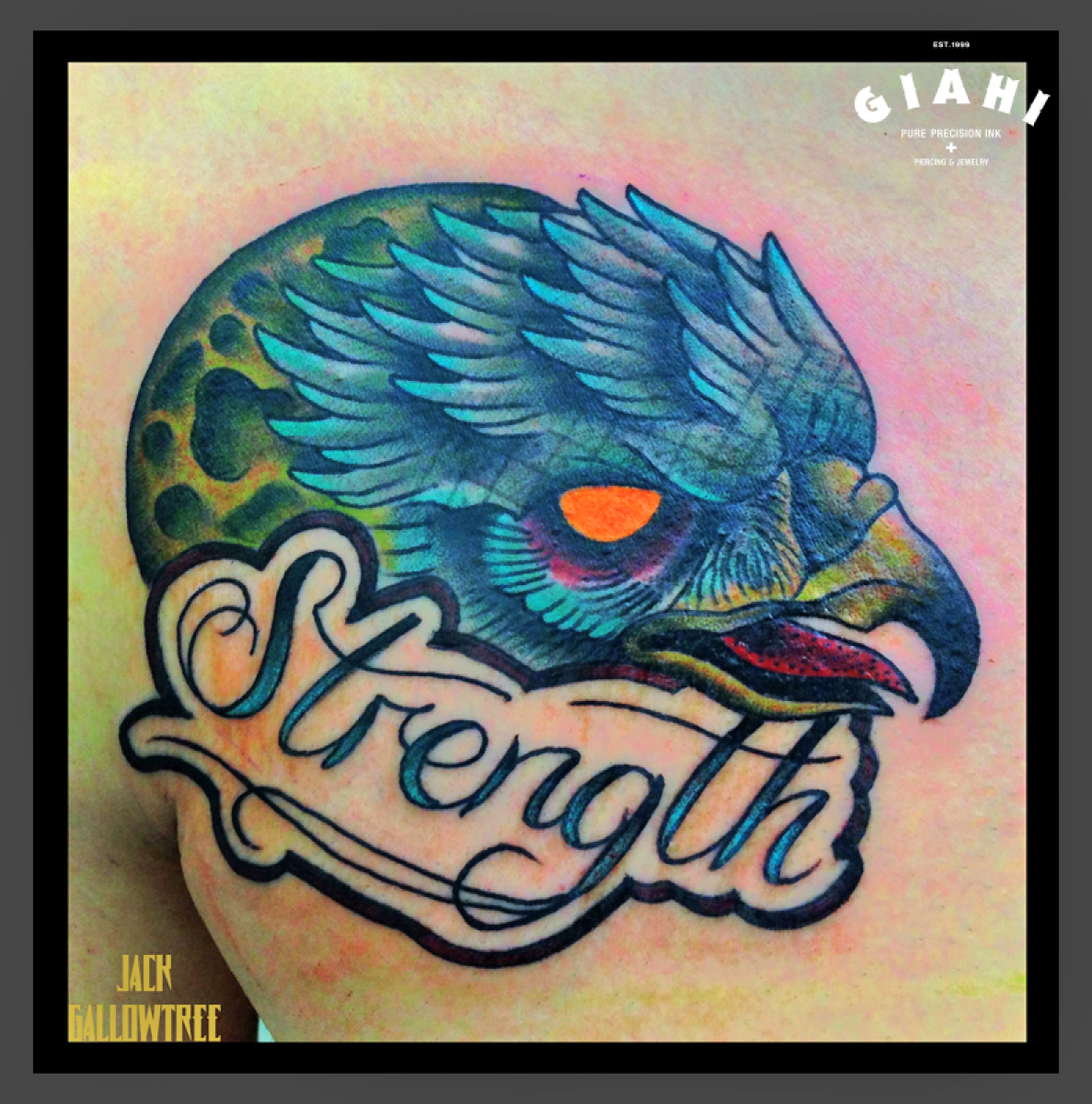 Moon Eagle Strenth Lettering tattoo by Jack Gallowtree