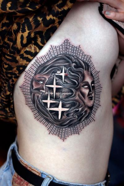 Moon and Sun Blackwork tattoo by Three Kings Tattoo