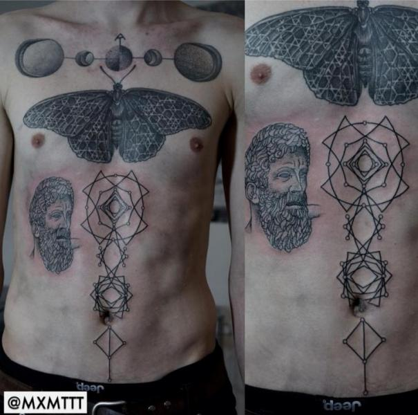 Moth and Moon Dotwork tattoo by MXM