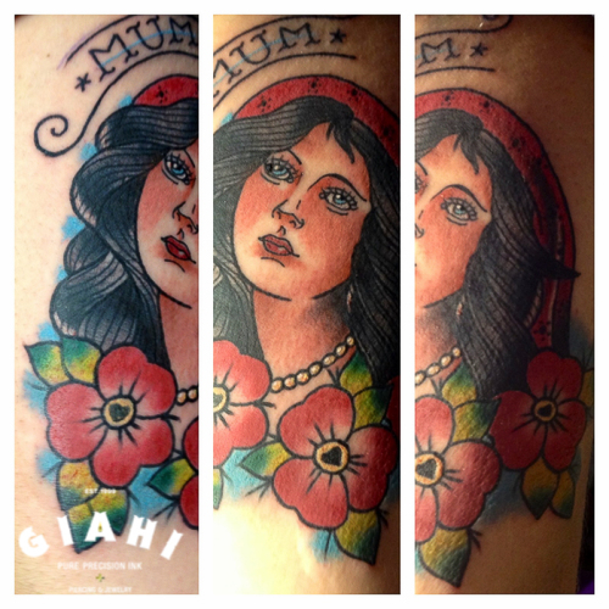 Mum Lettering Woman Old School tattoo by Elda Bernardes