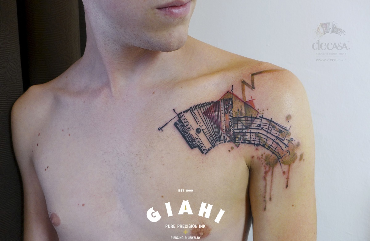 Music Notes Accordion tattoo by Carola Deutsch