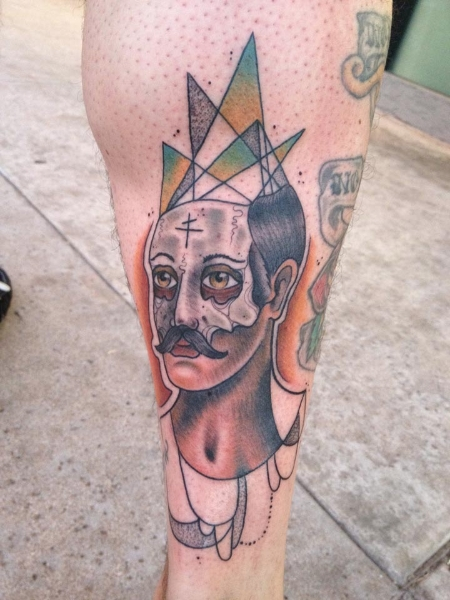 Mustache Abstract Man Baroque tattoo by Earth Gasper Tattoo