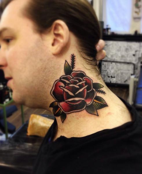 Neck Rose Old School tattoo by Matt Cooley