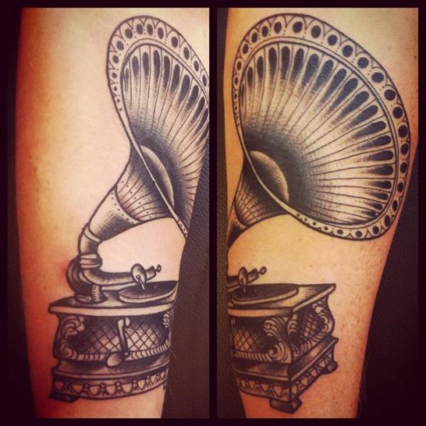 Old Gramophone tattoo by Sarah B Bolen