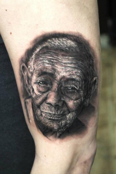 Old Man Realistic tattoo by Georgi Kodzhabashev