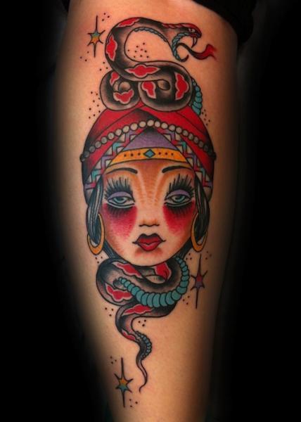 Old School Fortune-teller tattoo by Three Kings Tattoo