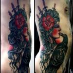 Old School Like Raven Kiss tattoo by Three Kings Tattoo on Body