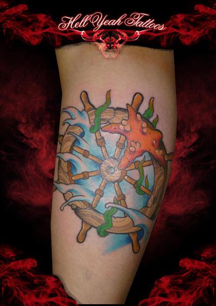Old Steering Wheel tattoo by Hellyeah Tattoos