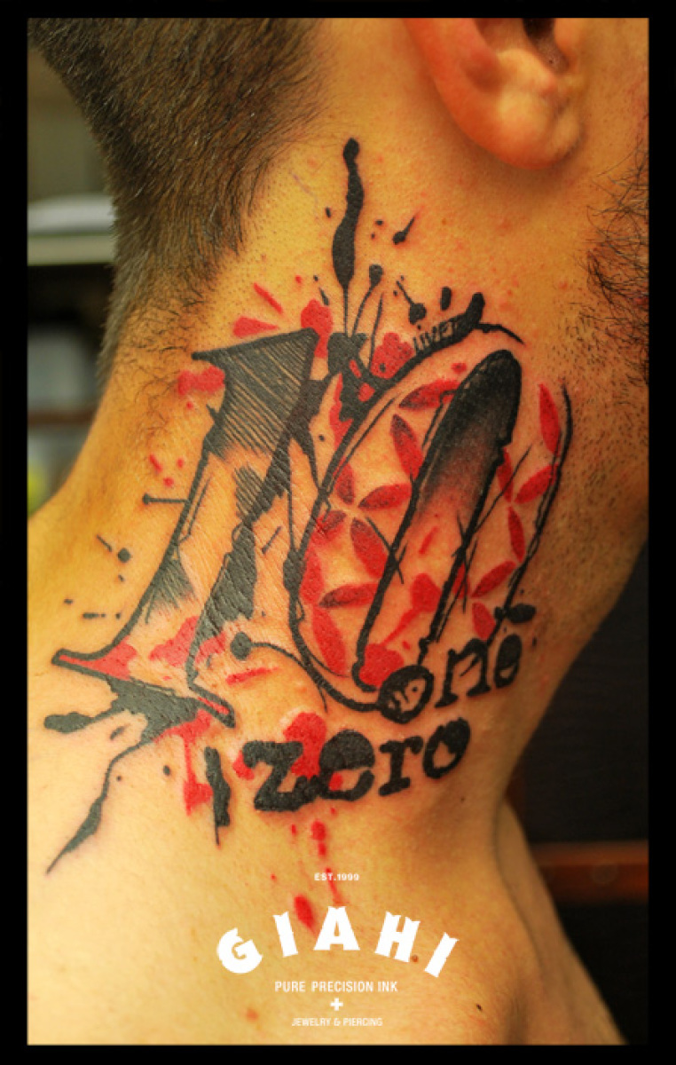 One Zero Lettering Neck tattoo by Live Two