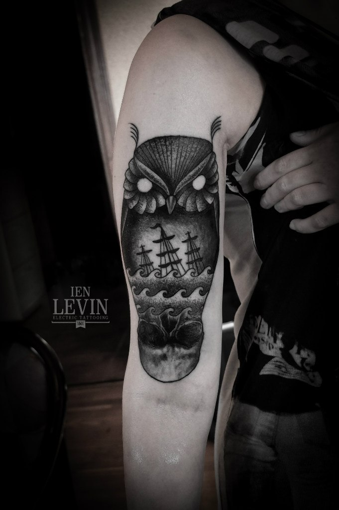 Owl Watching Sea Death Dotwork tattoo by Ien Levin