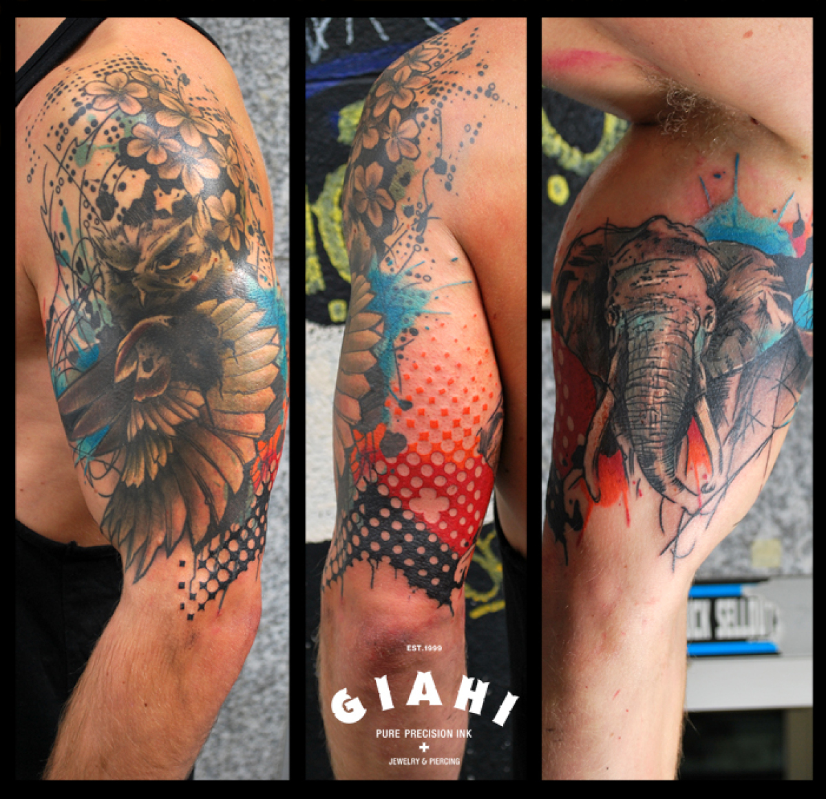 Owl and Elephant tattoo by Live Two
