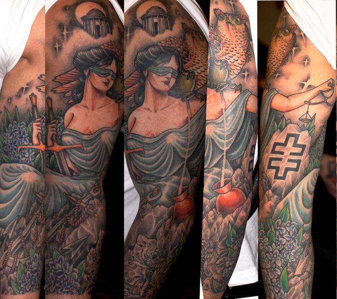 Owl and Themis tattoo sleeve by Three Kings Tattoo