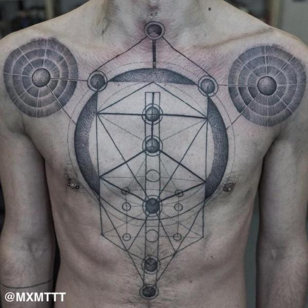Planet Map on Chest tattoo by MXM