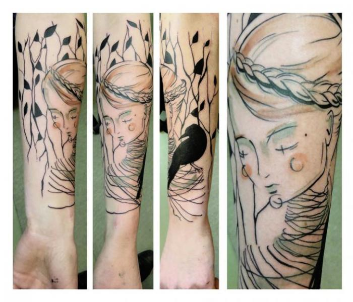 Raven Sad Girl Blackwork tattoo by Julia Rehme