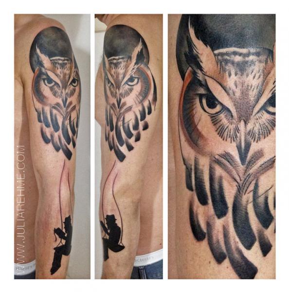 Reading Man Owl Blackwork tattoo by Julia Rehme