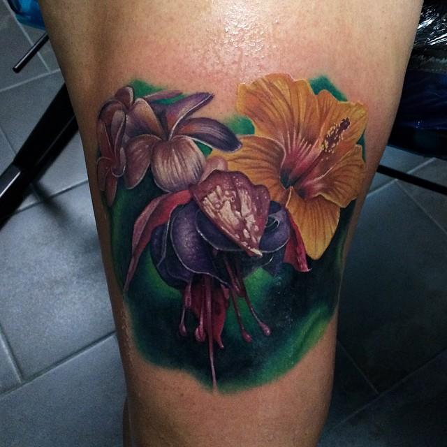Realistic Blinks Flowers tattoo John Barrett