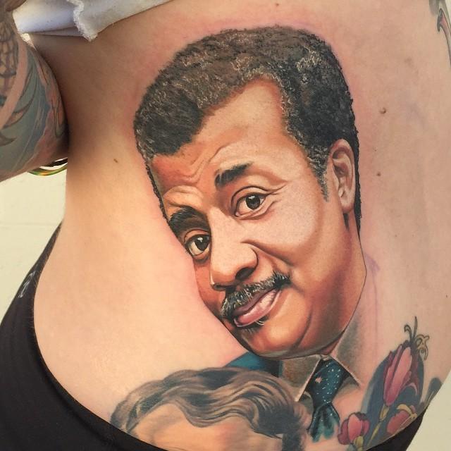 Realistic Neil DeGrasse Tyson tattoo by Tony Sklepic