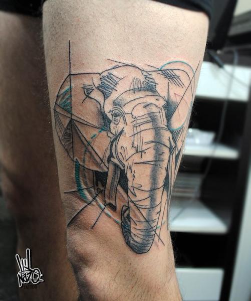 Realistic Sketchy Elephant tattoo by Nazo