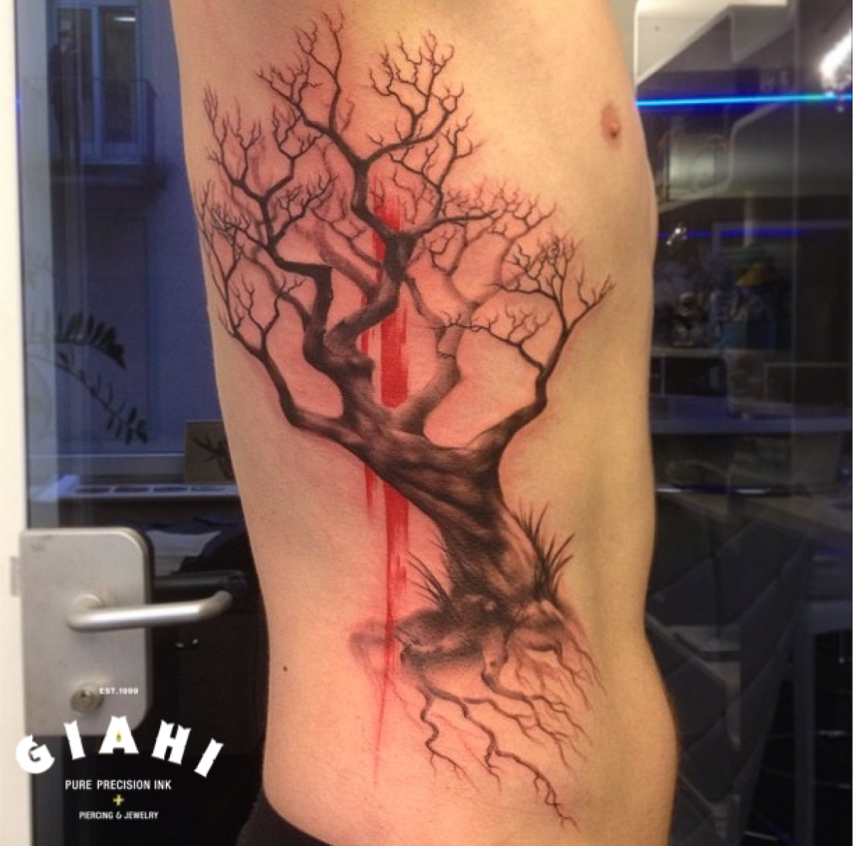 Red Brush Tree Graphic tattoo by Roony