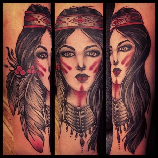 Red Painted Face Indian Girl tattoo by Sarah B Bolen