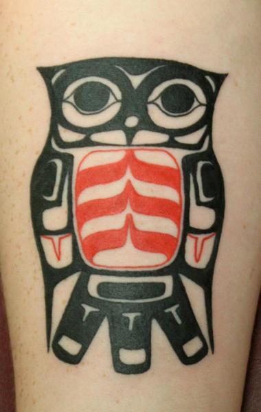 Red and Black Owl Blackwork tattoo by Tantrix Body Art