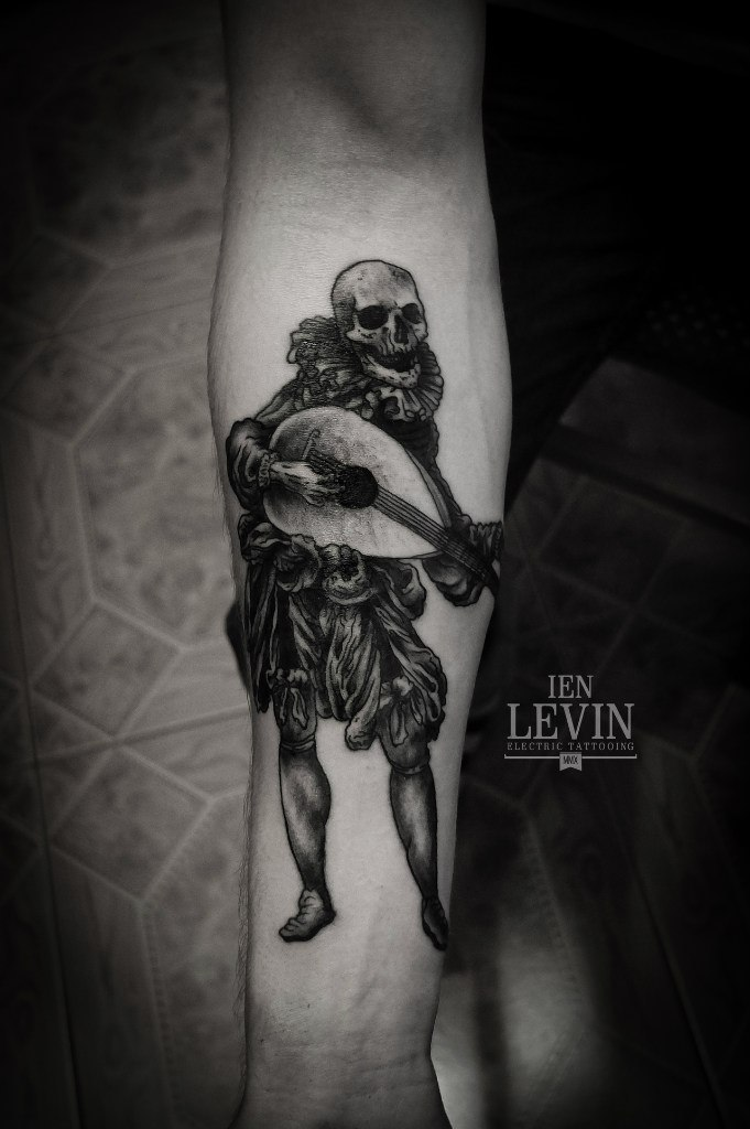 Reneisance Musician Skeleton Dotwork tattoo by Ien Levin