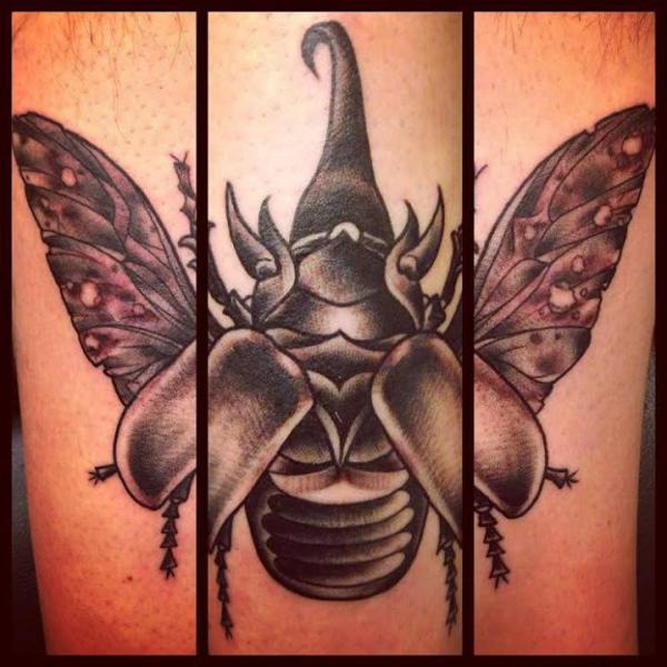 Rhinoceros Beetle Blackwork tattoo by Sarah B Bolen
