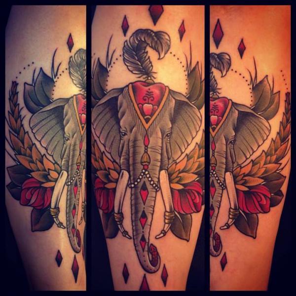 Rhombus Elephant tattoo by Sarah B Bolen