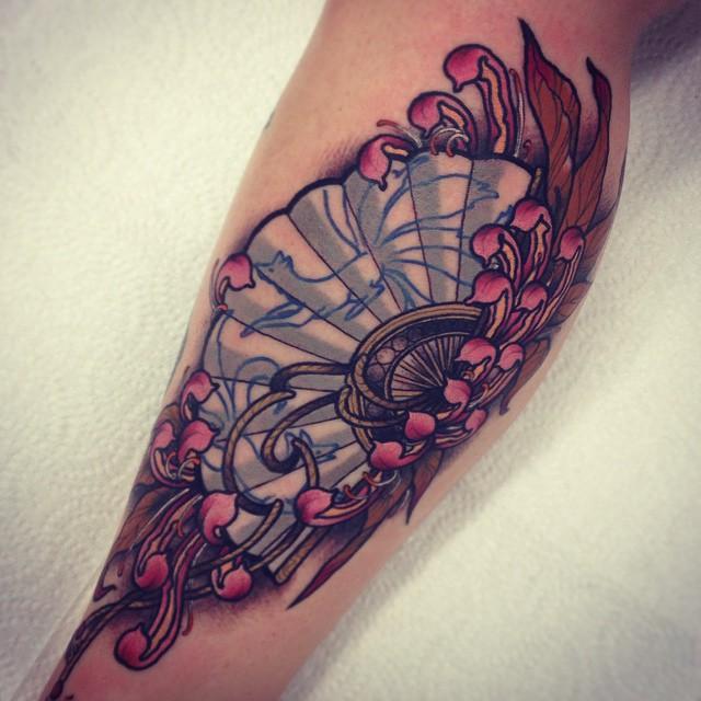Pink Petals Fan tattoo Drea Darling