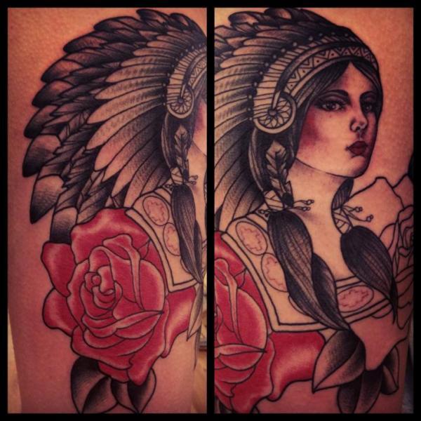 Rose Shoulder Indian Girl tattoo by
