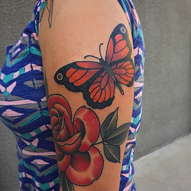Rose and Butterfly tattoo by Robert Hamilton Samuel