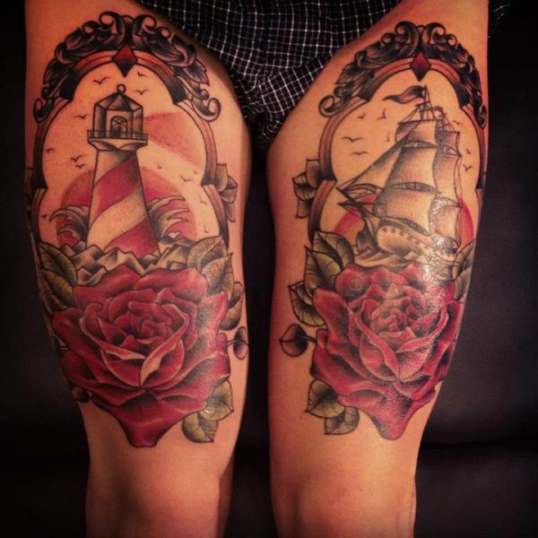 Rose and Lighthouse in Sea tattoo by Sarah B Bolen
