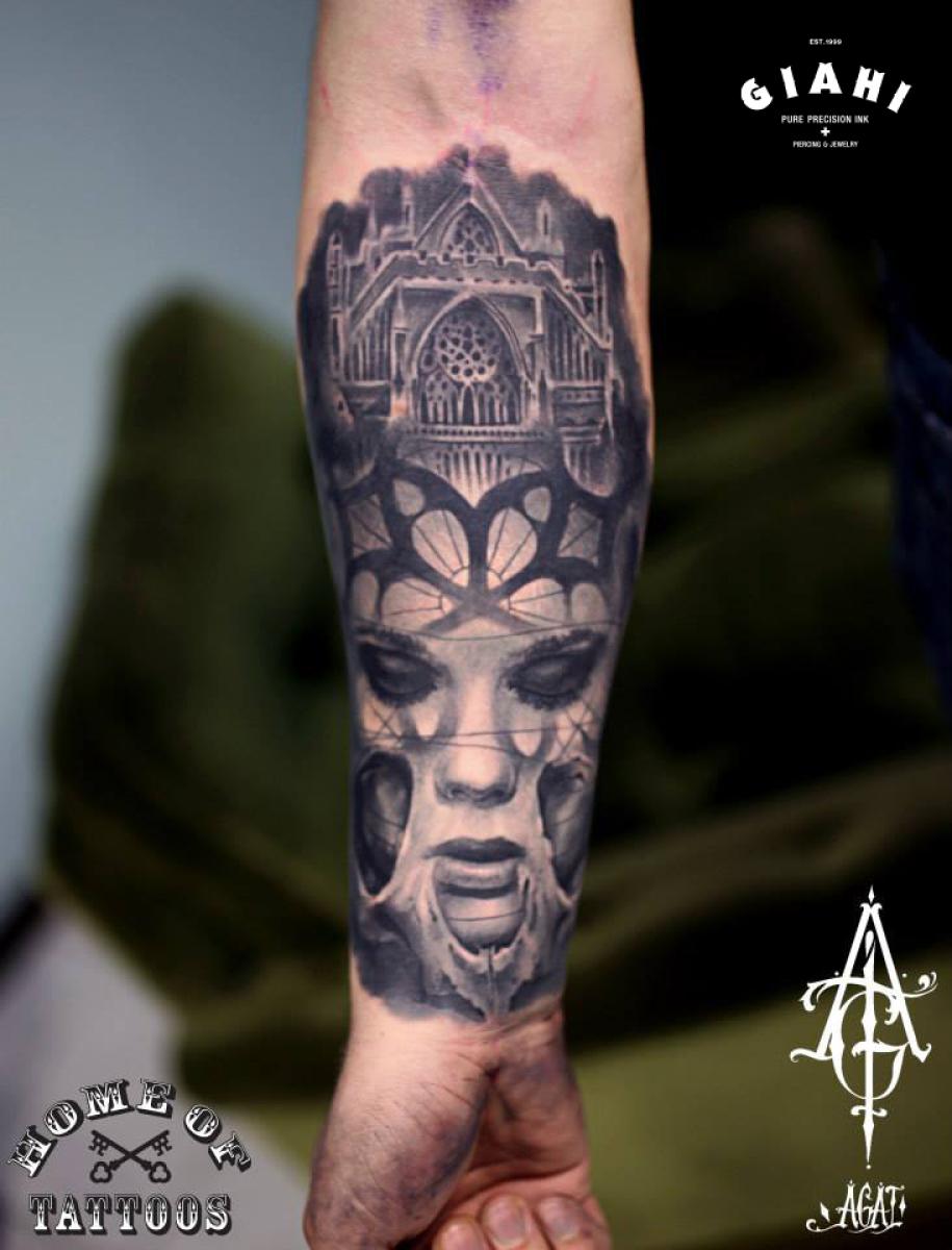 Sad Eyes Church Graphic tattoo by Agat Artemji
