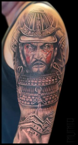 Scar Face Samurai Realistic tattoo by Mumia Tattoo