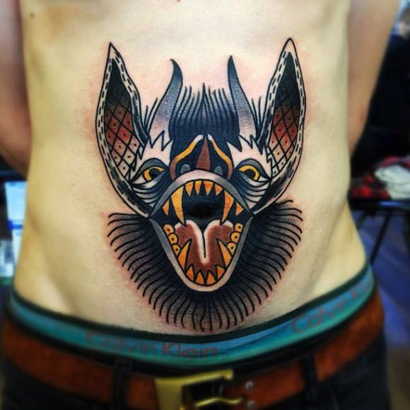 Screamming Bat on Belly New School tattoo by Matt Cooley