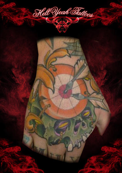 Scull Darts Aim tattoo by Hellyeah Tattoos